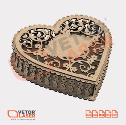 Vetor Caixa Decorativa Formato Coração Casamento para Corte Laser em MDF
