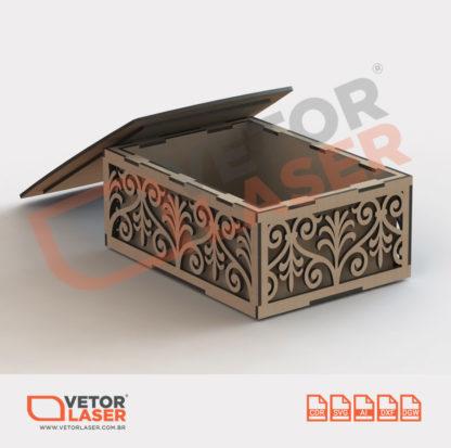 Vetor Caixinha Decorativa Arabescos parede dupla para corte com máquina laser em MDF