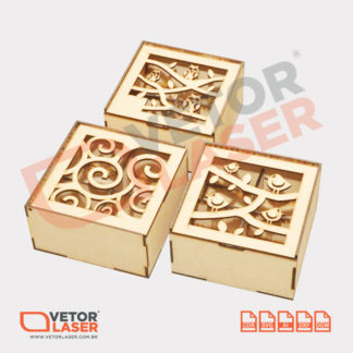 Vetor Caixinha Decorativa com Divisórias para Corte a Laser em MDF
