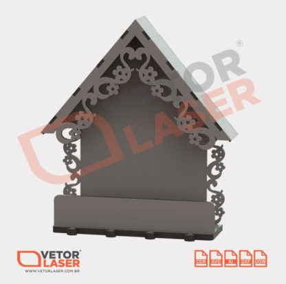 Vetor Porta Chaves Casinha para corte em Máquina Laser em MDF