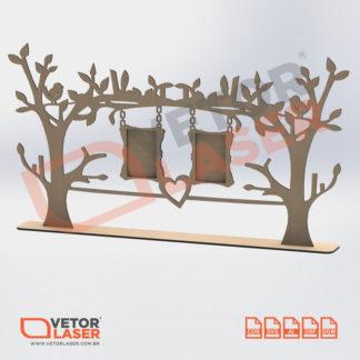 Vetor Porta Retrato Árvore 2 Fotos para corte laser em mdf