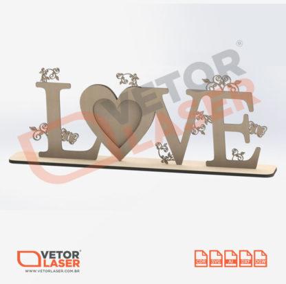 Vetor Porta Retrato Love 1 Foto Coração para Corte Laser em MDF