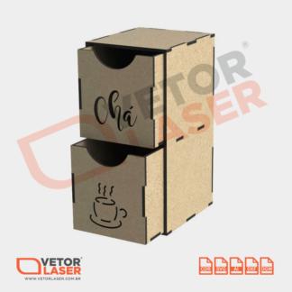 Vetor Caixinha de Chá para Corte em Máquina Laser em MDF