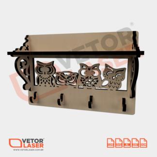 Vetor Porta Chaves Corujas para Corte a Laser em MDF