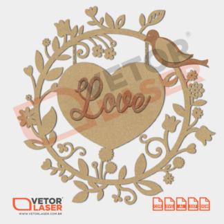 Vetor Mandala Coração Love Passarinho para corte com máquina Laser em MDF