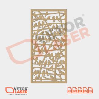 Vetor Quadro Passarinhos para corte com máquina Laser em MDF