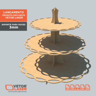 Vetor Suporte para Doces para corte com máquina laser em MDF de 3mm