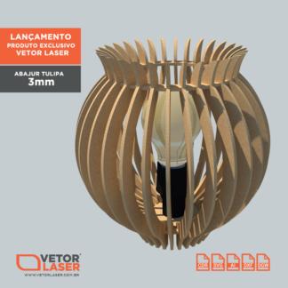 Vetor Luminária Abajur Tulipa para Corte com Máquina Laser em MDF de 3mm.