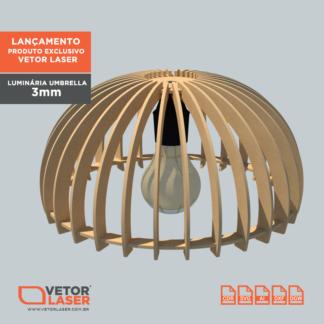 Vetor Luminária Pendente Umbrella Corte Laser MDF 3mm VL0720