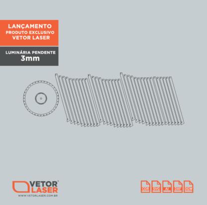 Vetor Luminária Pendente Cone para corte laser em mdf de 3mm