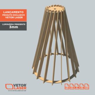 Vetor Luninária Pendente Cone Tranversal para corte com máquina laser em MDF de 3mm