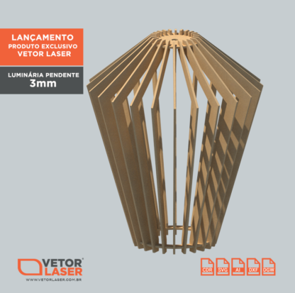Vetor Luminária Pendente Hana para corte laser em MDF de 3mm