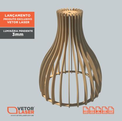 Vetor Luminária Pendente para corte laser em MDF de 3mm