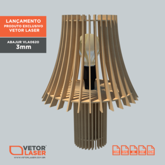 Vetor Abajur Jawa para corte com máquina Laser em MDF 3mm - VLA0620