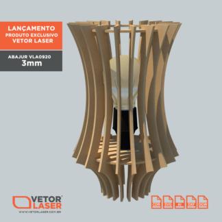 Vetor Luminária Abajur para corte com máquina Laser em MDF 3mm VLA0920