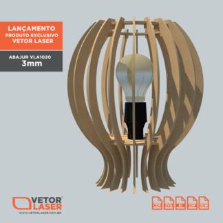 Vetor Luminária Abajur para Corte com máquina Laser em MDF 3mm - VLA1020
