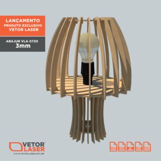 Vetor Luminária Abajur para Corte com Máquina Laser em MDF 3MM VLA0720
