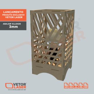 Vetor Luminária Abajur Lanterna para Corte em máquina Laser em MDF VLL0420