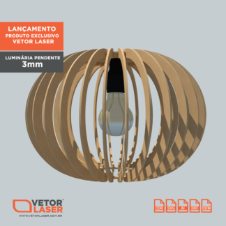 Vetor Luminária Pendente Redonda para Corte com máquina Laser em MDF de 3mm - VLP1220